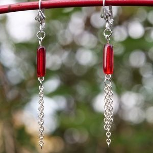 Chained Red Earrings